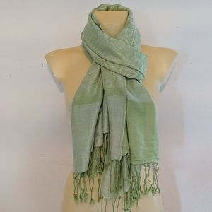 Bright Paisley Lime Green and White Tassel Scarf